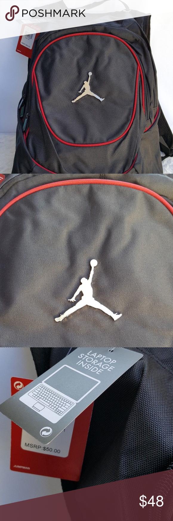 f506570cf1a1 NWT Nike Air Jordan Jumpman Backpack Book Bag New Nike Air Jordan Jumpman Laptop  Storage Inside