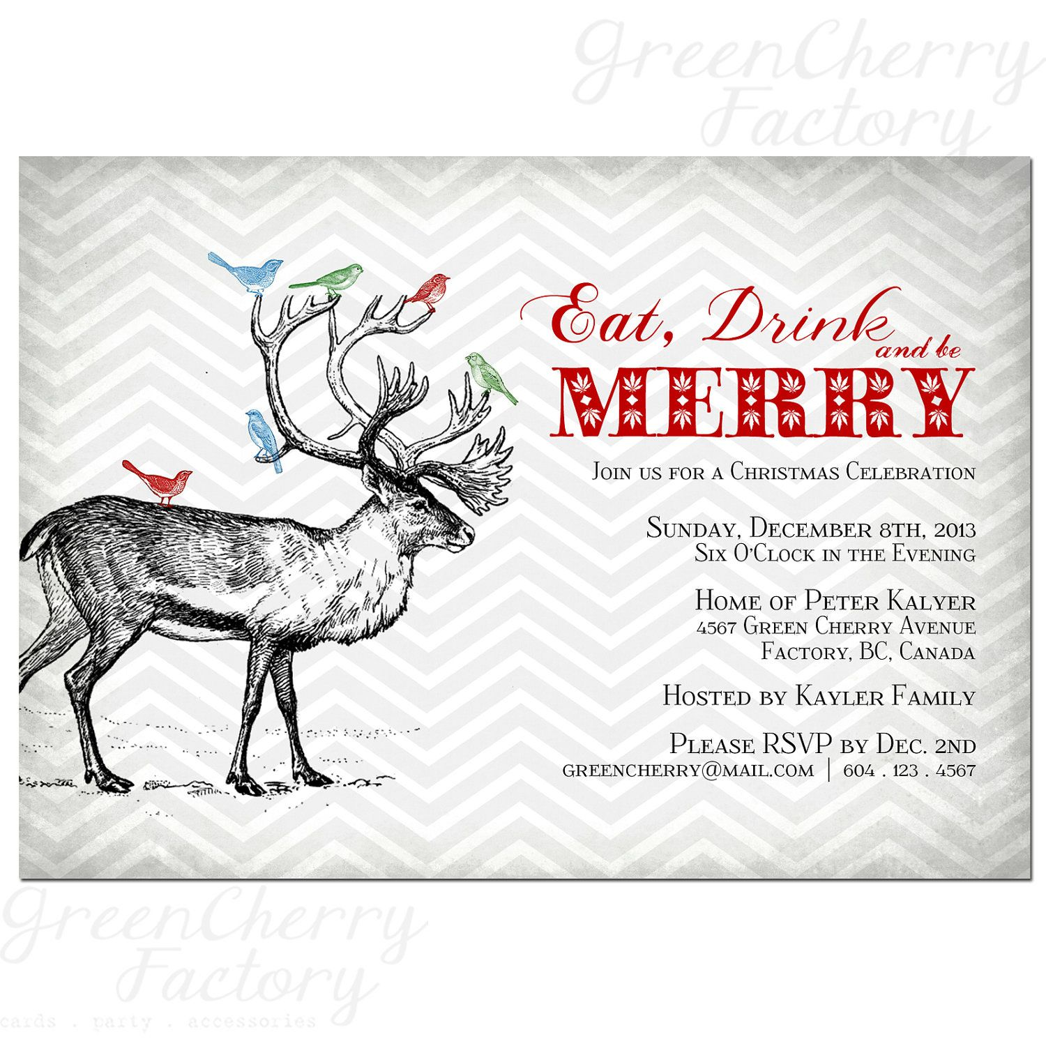eat drink and be merry printable vintage christmas invitation