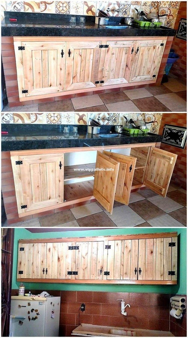 Amazing wooden kitchen storage cabinets pallet ideas квартира
