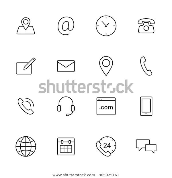 Contact Us Line Icons Web Mobile Stock Vector Royalty Free 305025161 Telephone Icone Modele De Cv Creatif Fond D Ecran Telephone