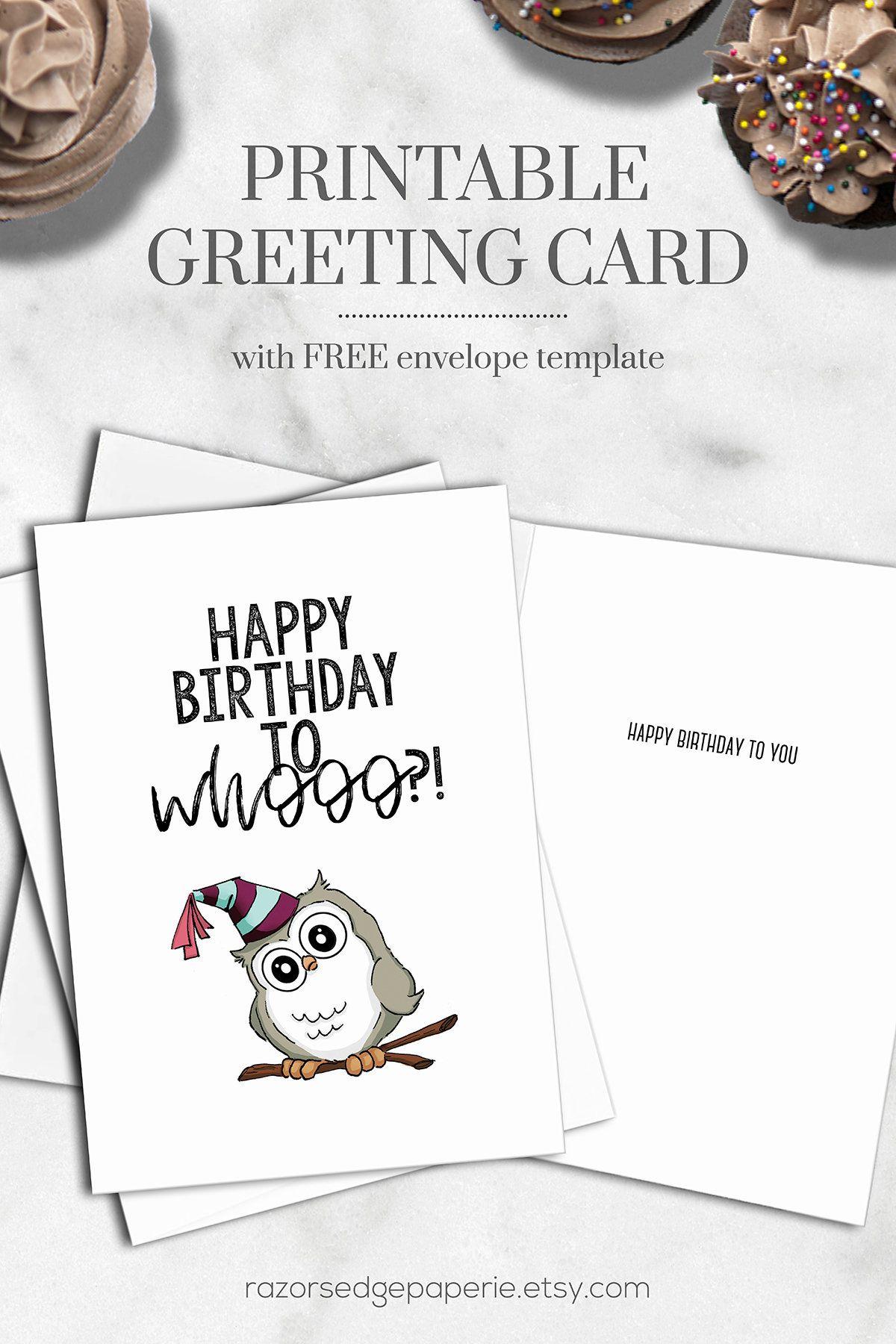 Printable Birthday Card Instant Download Digital Cute Watercolor Owl
