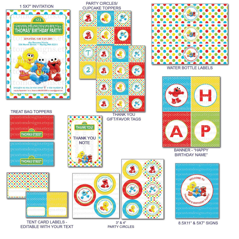 Diy Printable Customized Baby Sesame Street By