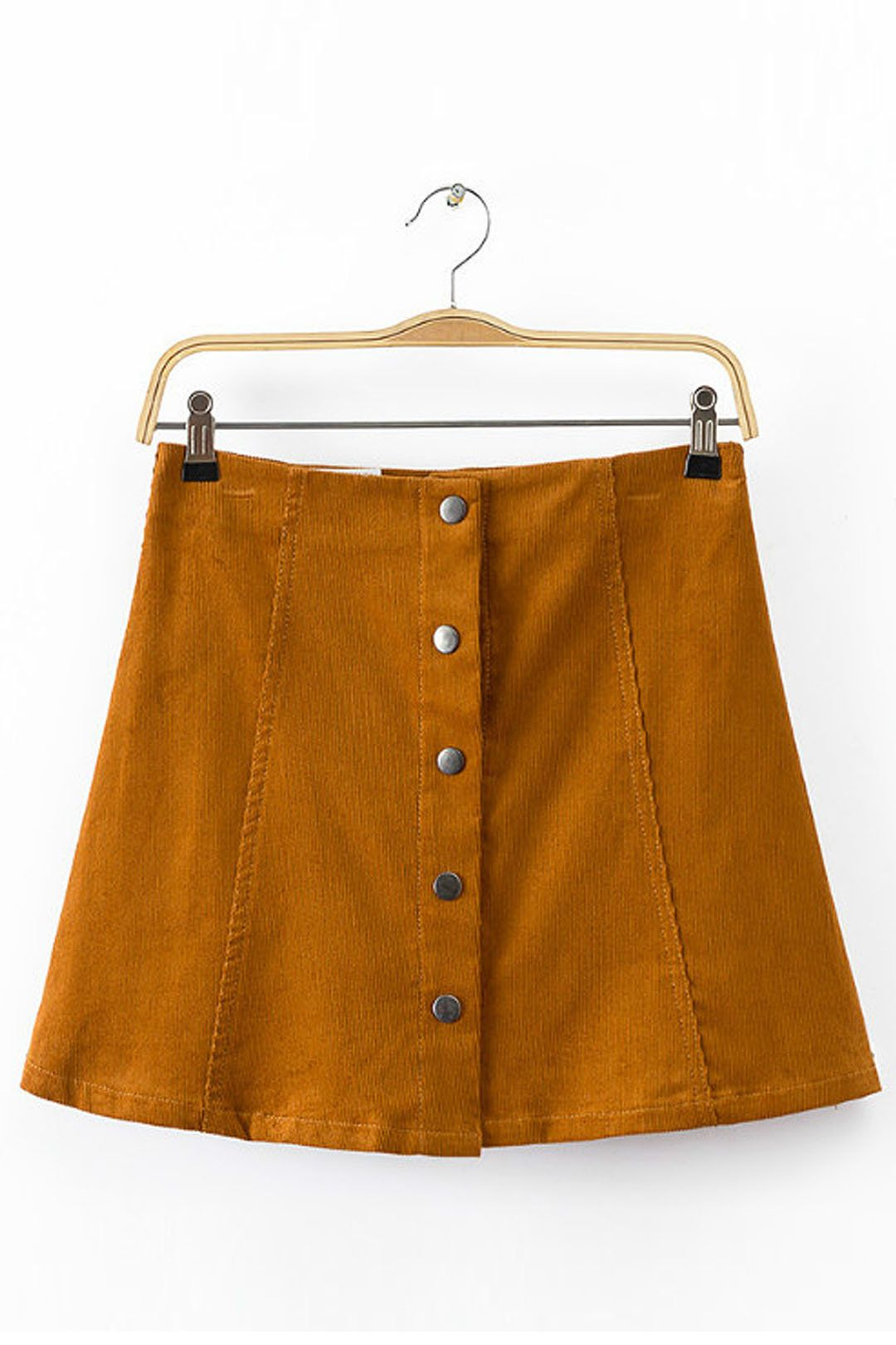 87f097d03 Yellow Button Through A Line Skirt in Corduroy - US$13.95 in 2019 ...