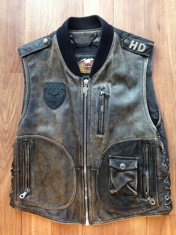 vintage original harley davidson panhead leather vest en 2018 gilet en cuir cuir style. Black Bedroom Furniture Sets. Home Design Ideas