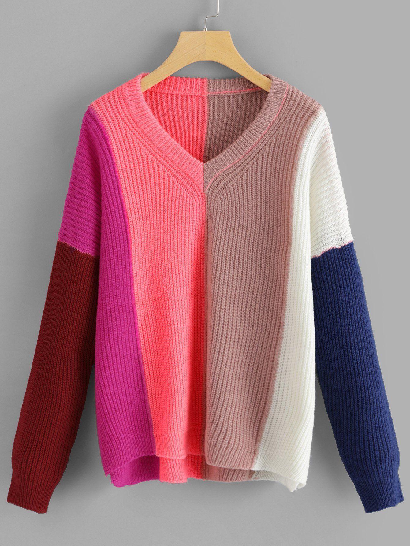 e28365c2311 V Neck Color Block Sweater