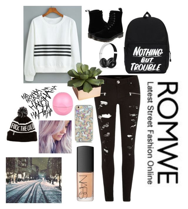 """""""ROMWE white sweater"""" by tyelah1608 ❤ liked on Polyvore featuring River Island, CB2, Dr. Martens, Beats by Dr. Dre, Eos and NARS Cosmetics"""