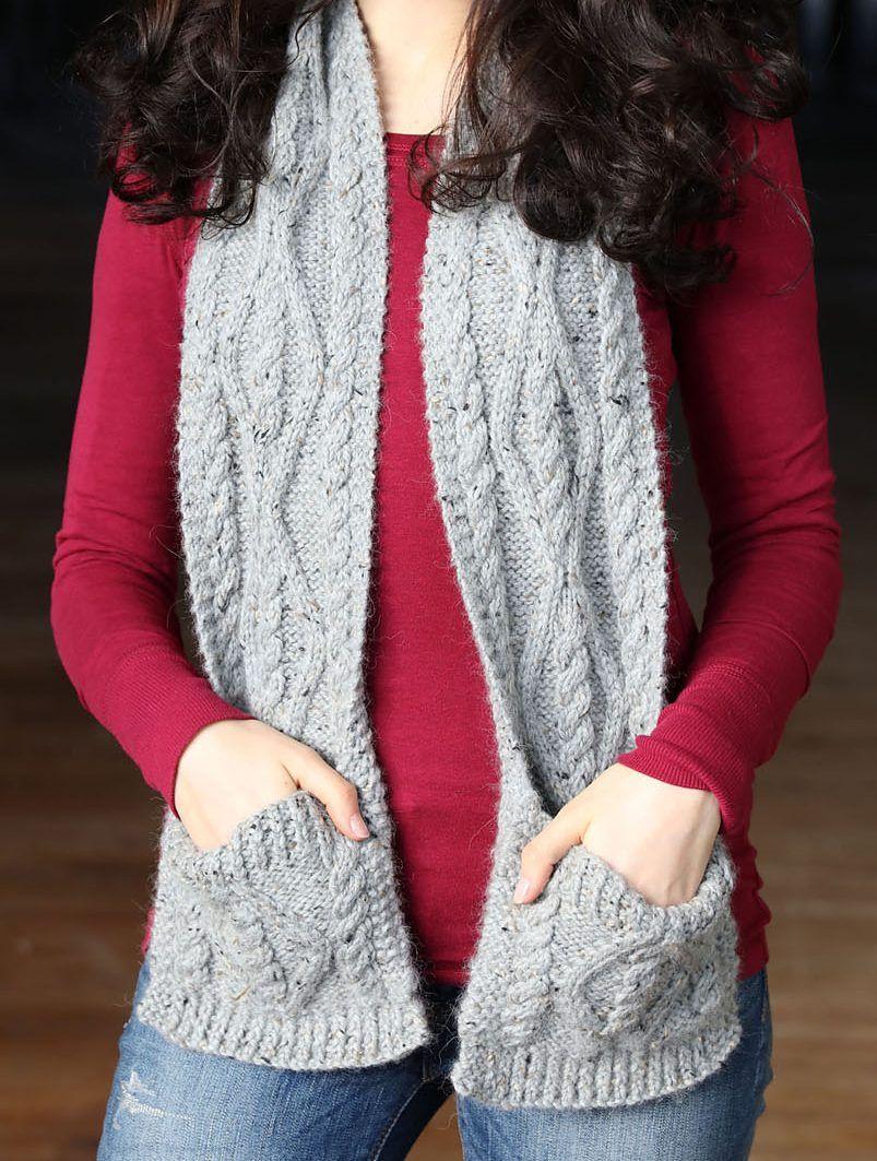 Pocket Wrap Knitting Patterns   Knitting patterns, Scarves and Patterns
