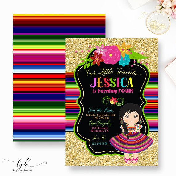 Fiesta Birthday Party Invitation Mexican party by AngelinaWorks – Mexican Themed Party Invitations