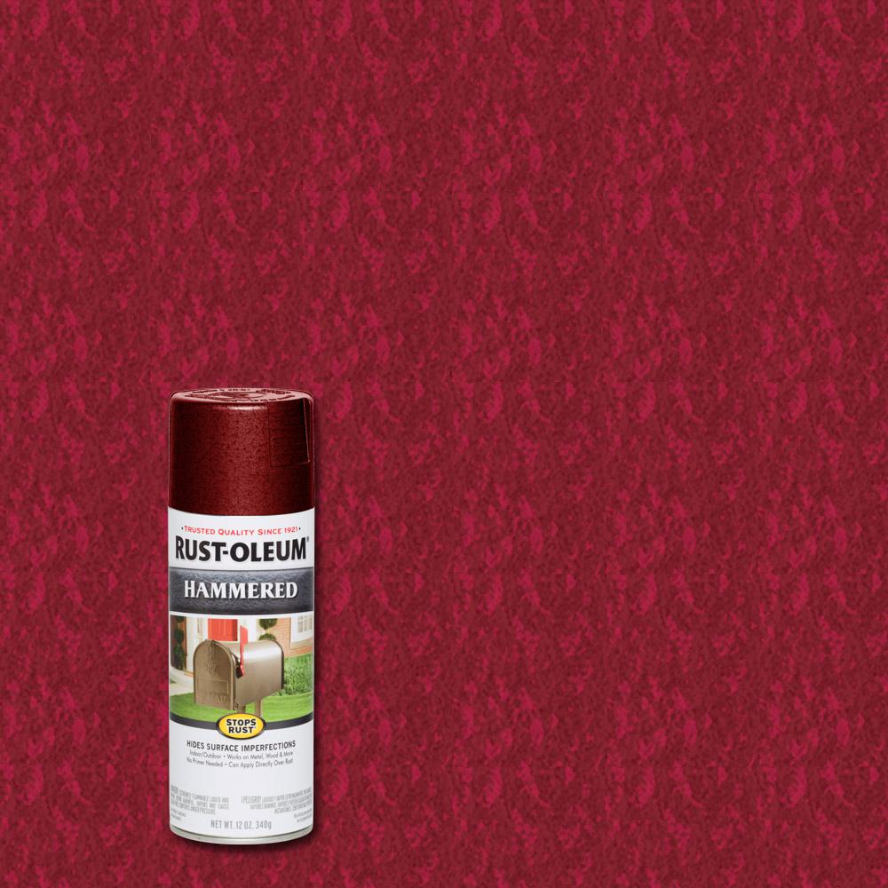 Rust Oleum Stops Rust 12 Oz Hammered Bright Red Protective Spray Paint 6 Pack 7217830 The Home Depot Red Spray Paint Rustoleum Hammered