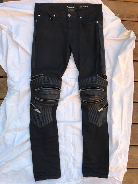9b5f662f958 Saint Laurent Paris SLP YSL Black Lambskin leather Moto motorcycle biker  jeans pants zippers