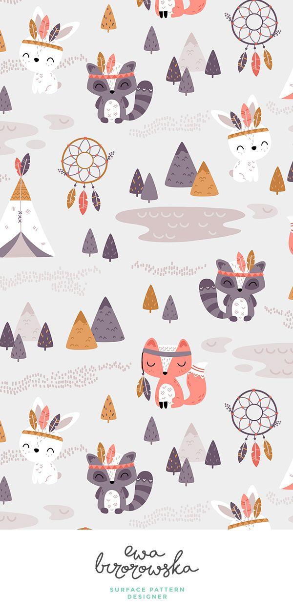 Tribal Woodland nursery textile pattern design. Tribal, woodland, boho, aztec, teepee, indians, dreamcatcher, fox, raccoon, bunny, rabbit, feathers, tee pee, geometric, nursery, kids, children, unisex, mountain, mountains, neutral, cute, woodland illustration, woodland pattern design, woodland nursery, neutral nursery, unisex nursery, tribal nursery, tribal illustration, woodland animals. #teedesign