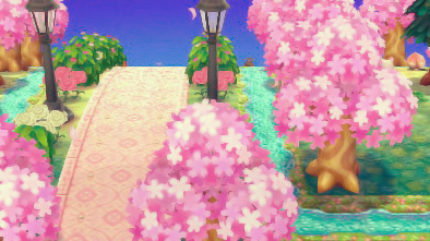 This Town Is Gorgeous Cherry Blossom Tree Season Crown To Wear When You Arrive More Gifts Behind Town Tre Animal Crossing Animal Crossing Game Blossom Trees