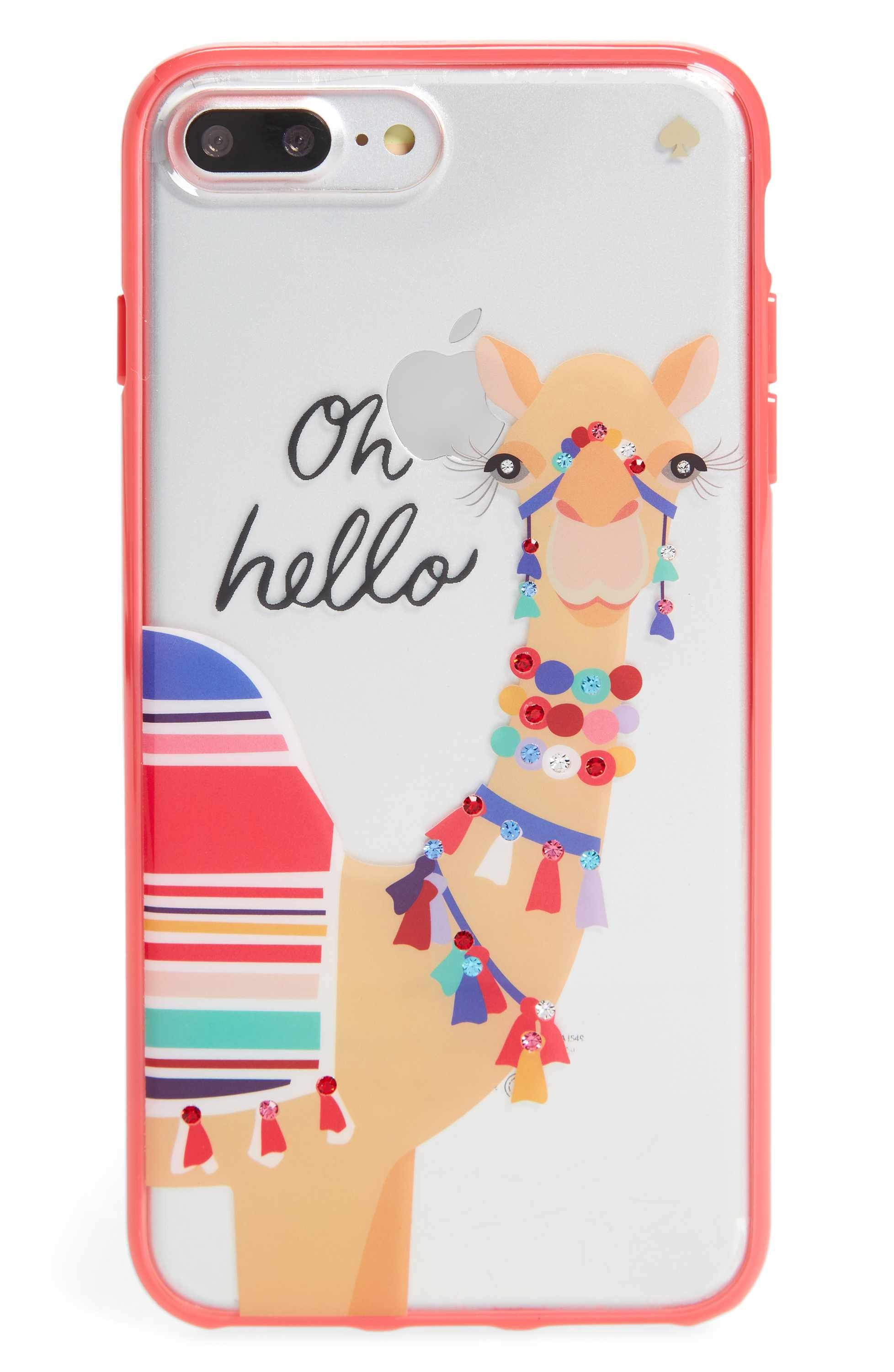 outlet store 82eb9 a867f Main Image - kate spade new york jeweled camel transparent iPhone 7 ...