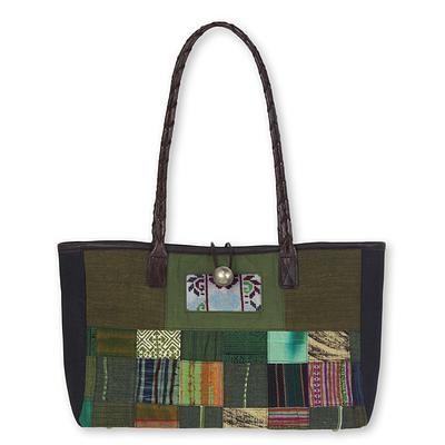 26af7945b358 Thailand Green Patchwork Leather Trim Shoulder Bag
