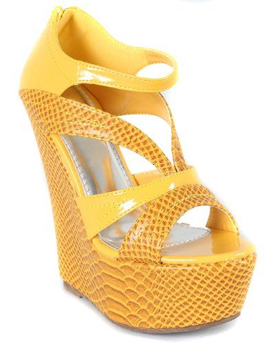 94465f9a4a0 Amazon.com  Snake Strappy Open Toe Platform Wedge Mustard