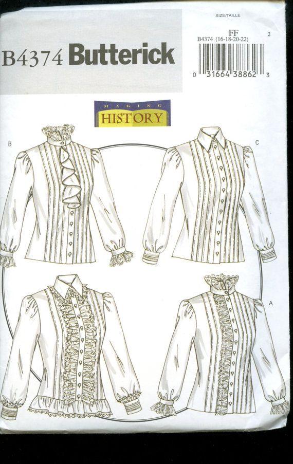 Butterick 4374 Victorian/Edwardian blouses pattern | Edwardian ...