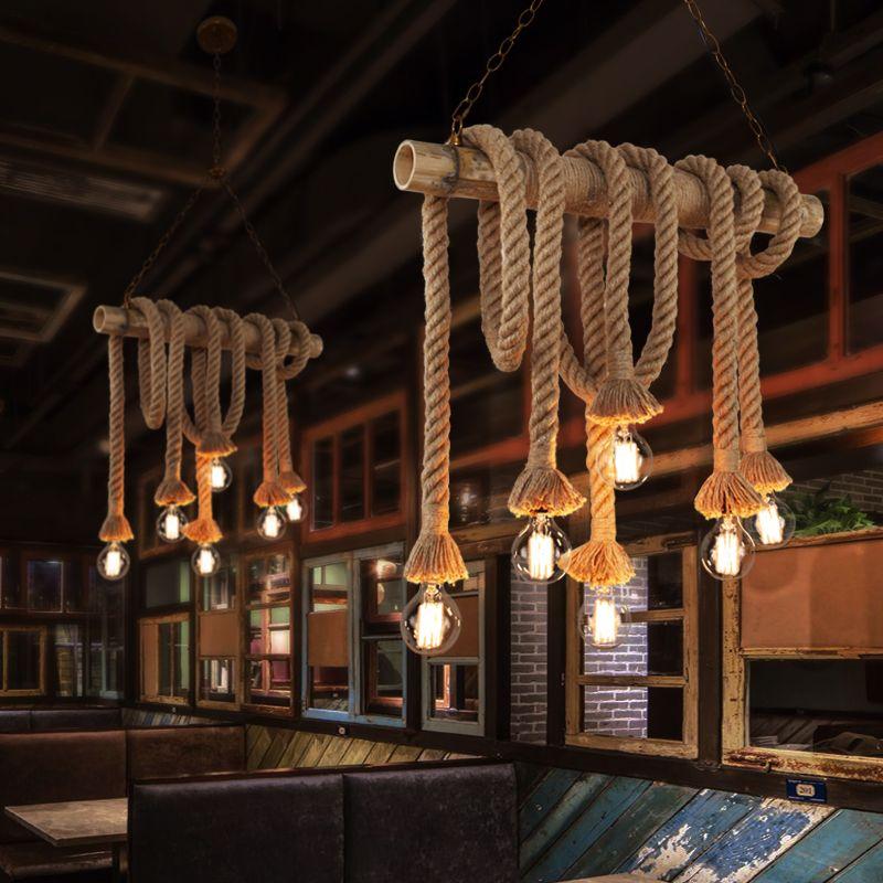 Hennep Amerikaanse Minimalistische Retro Persoonlijkheid Restaurant Bar Koffie Hal Decoratieve Bamboe Tuin La Industriele Lampen Vintage Kroonluchter Lamplicht