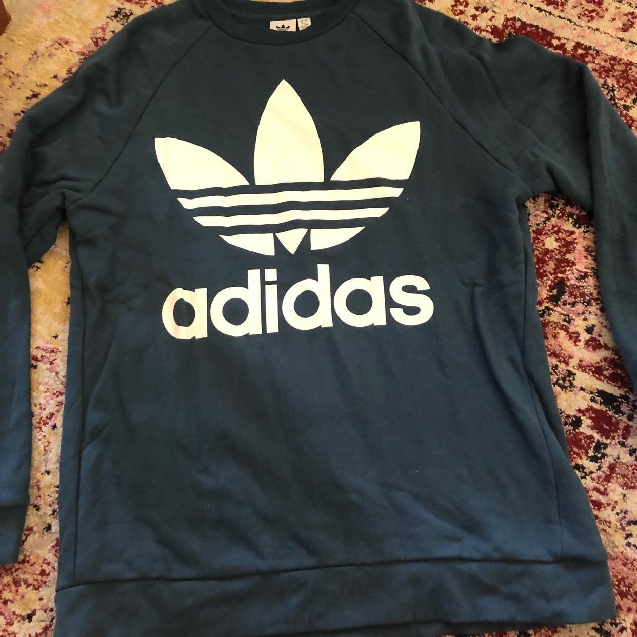 Super Cute Blue Adidas Sweatshirt Women S Size Large Worn Once Or Twice Great Condition Adidas Sweatshirt Adidas Blue Adidas [ 1242 x 1242 Pixel ]