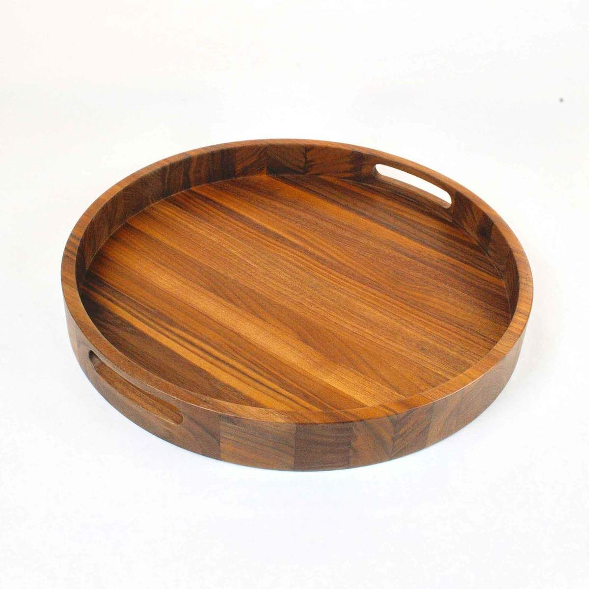 16 5 Inch Round Walnut Wood Serving And Coffee Table Tray With Handles Serving Tray Wood Wood Platter Serving Trays With Handles [ 1200 x 1200 Pixel ]