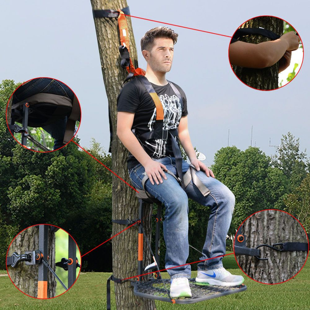 Tree Stand Hunting Guide Gear Hang Sit On Seat 300 lb