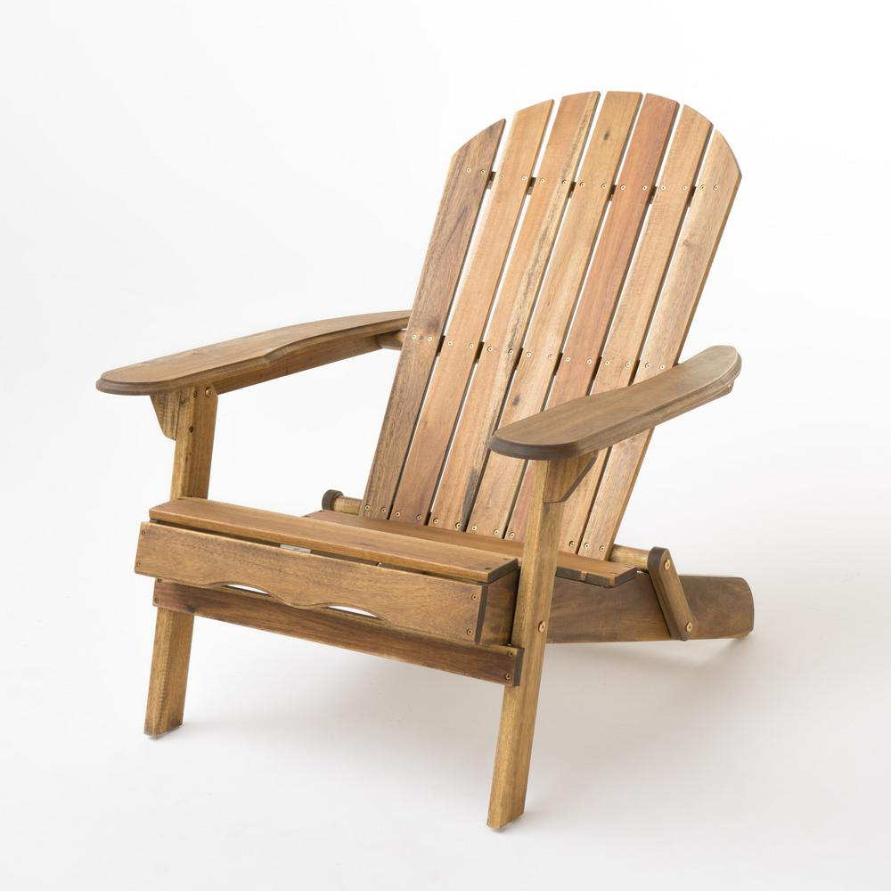 Noble House Hanlee Natural Stained Folding Wood Adirondack Chair Wood Adirondack Chairs Adirondack Chair Plans Adirondack Chair