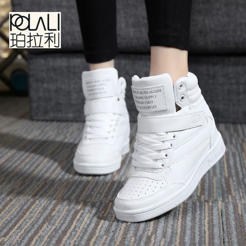 New spring autumn ankle boots heels shoes women casual shoes height  increased high top shoes mixed