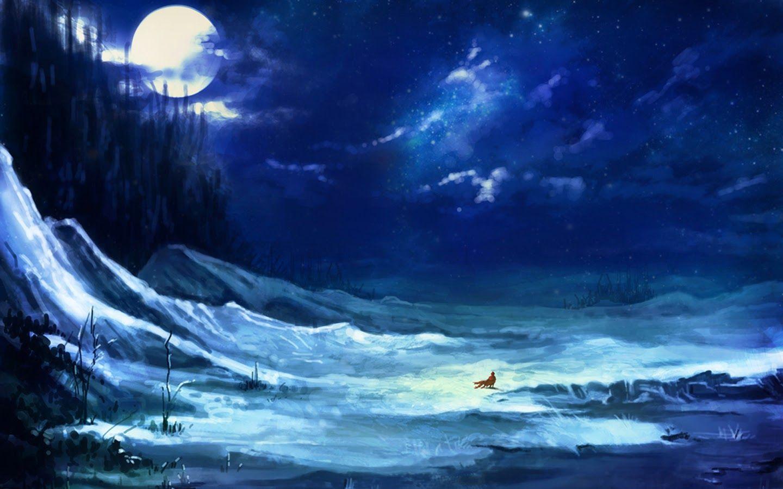 wintery full moon night landscapes | full moon winter night