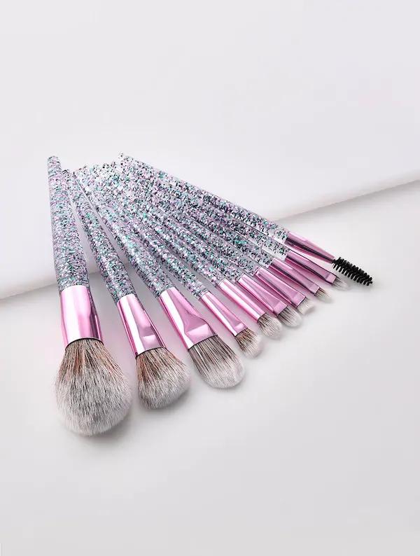 Glitter Handle Makeup Brush 10pcs for sale Australia