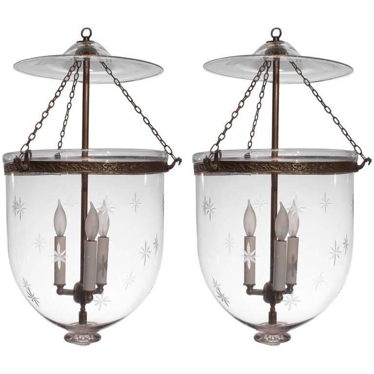 Pair Of Large 19th Century English Bell Jar Lanterns With Star Etching