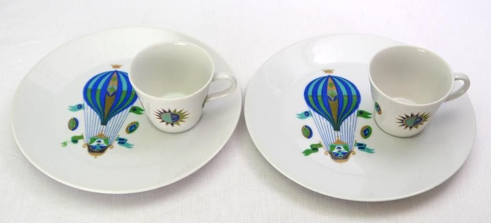 Georges Briard Fancy Free Hot Air Balloon Plate & Cup Snack Set For 2
