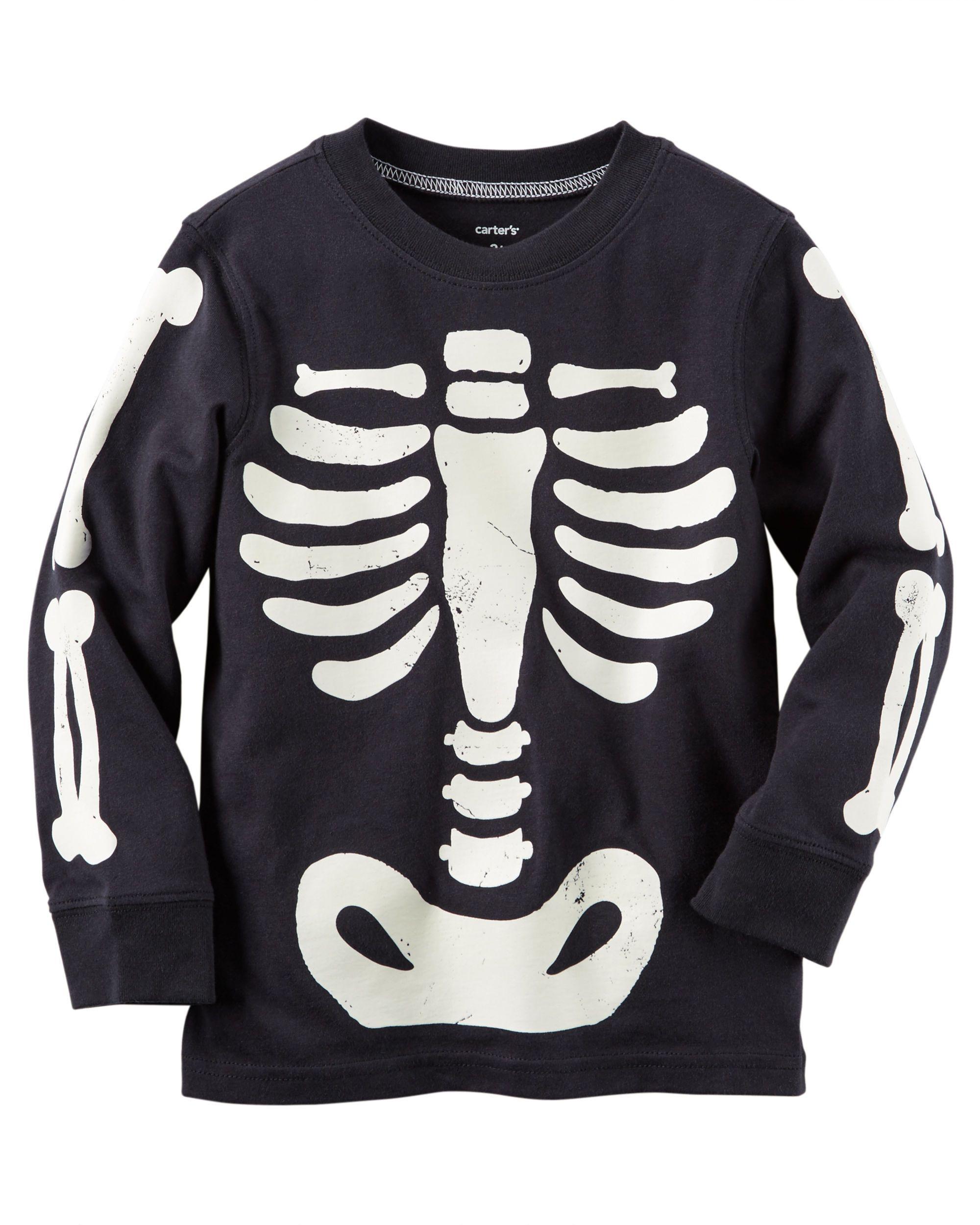 815984180 Kid Boy Long-Sleeve Glow-In-The-Dark Skeleton Bones Halloween Tee | Carters .com