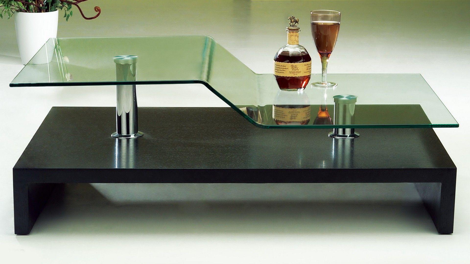 AtHome C5272B Coffee Table Black Rectangular coffee table Glass