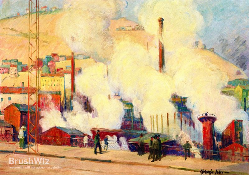 Industrial Scene, Pottsville, Pennsylvania by George Luks - Oil Painting Reproduction - BrushWiz.com