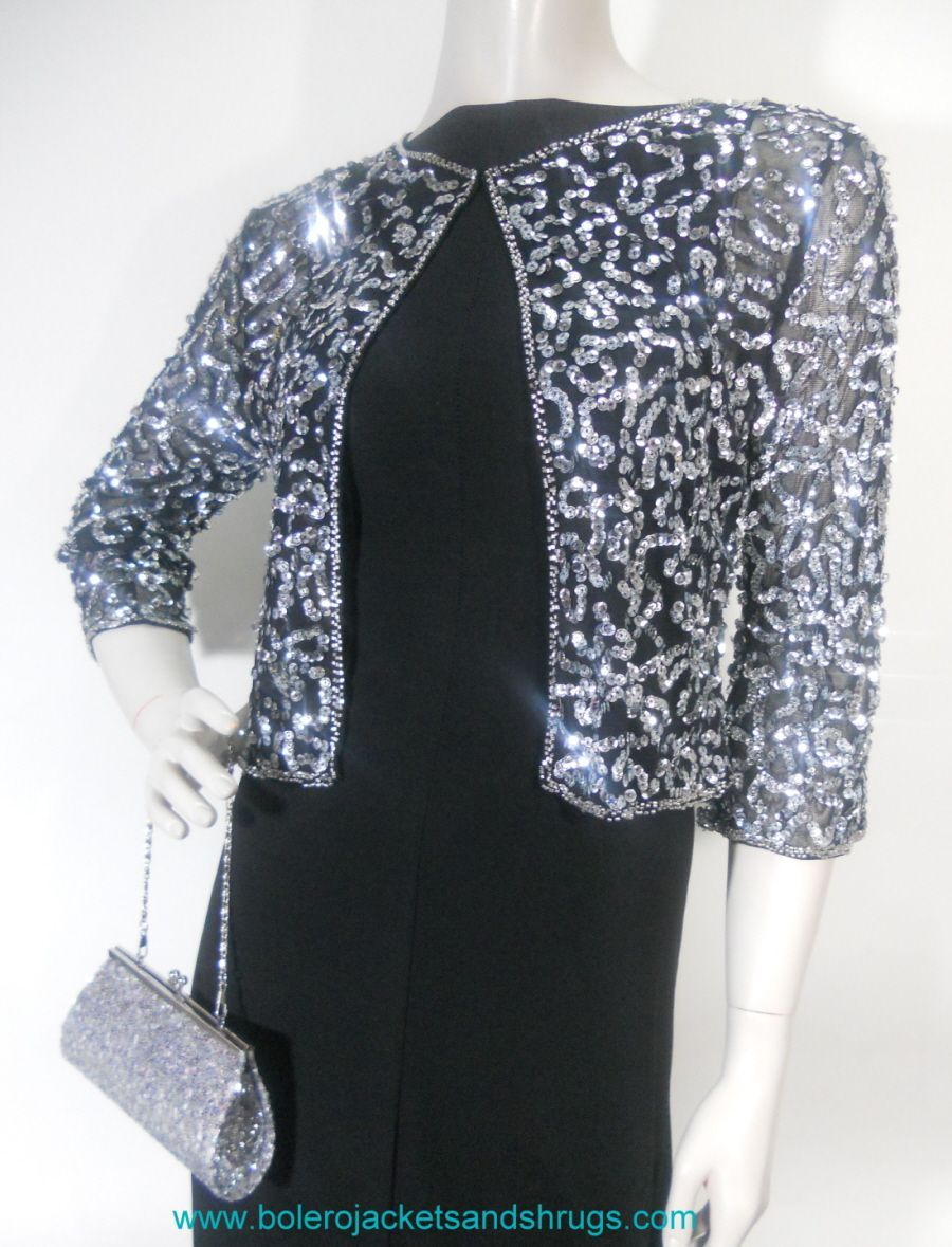 Gorgeous 3 4 Sleeve Gold Sequin Evening Dress Bolero Jacket Description From Advantly