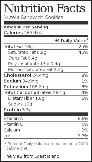 Nutrition Label For Nutella Sandwich Cookies Nutrition Nutrition Facts Nutrition Labels