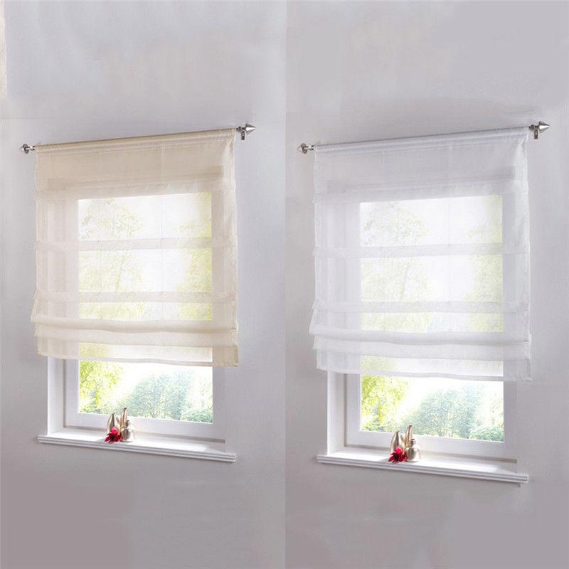 Sheer Kitchen Bathroom Balcony Window Curtain Voile Liftable Roman Blinds Kitchen Window Curtains Small Window Curtains Small Bathroom Window