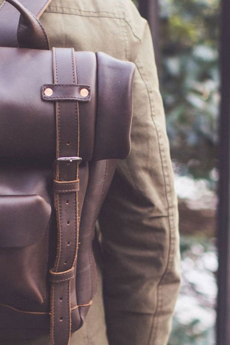 Heritage Rolltop Leather Laptop Backpack Best Leather Backpack Rugged Leather Bag Leather Laptop Backpack