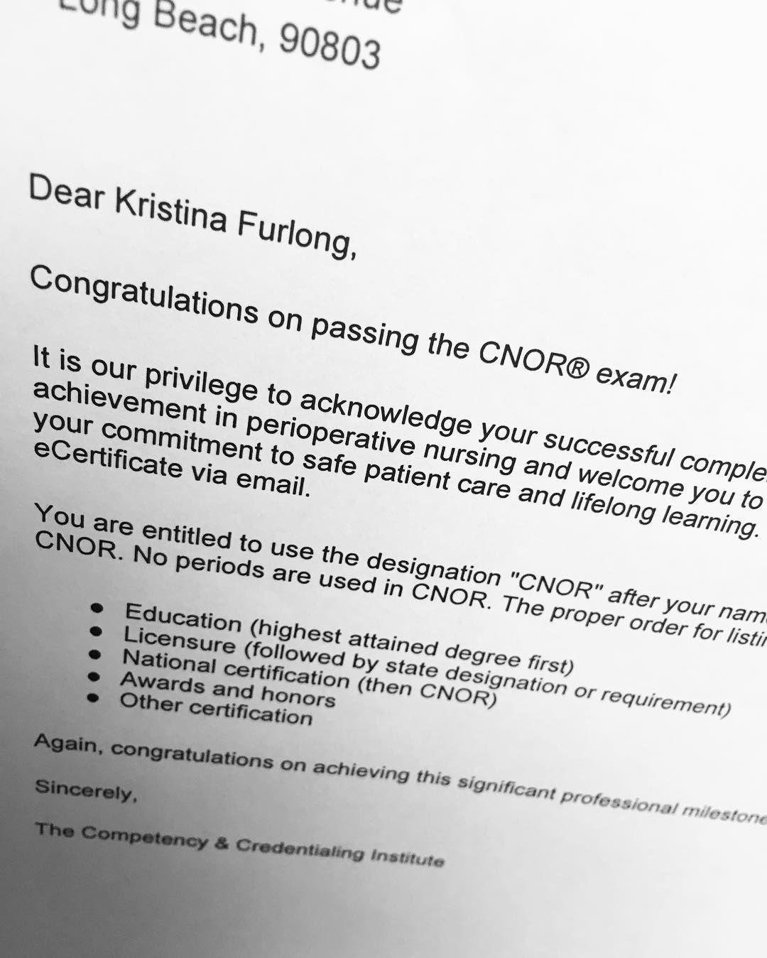 Success! #cnor #certified #nationalcertification #ornurse #cci ...