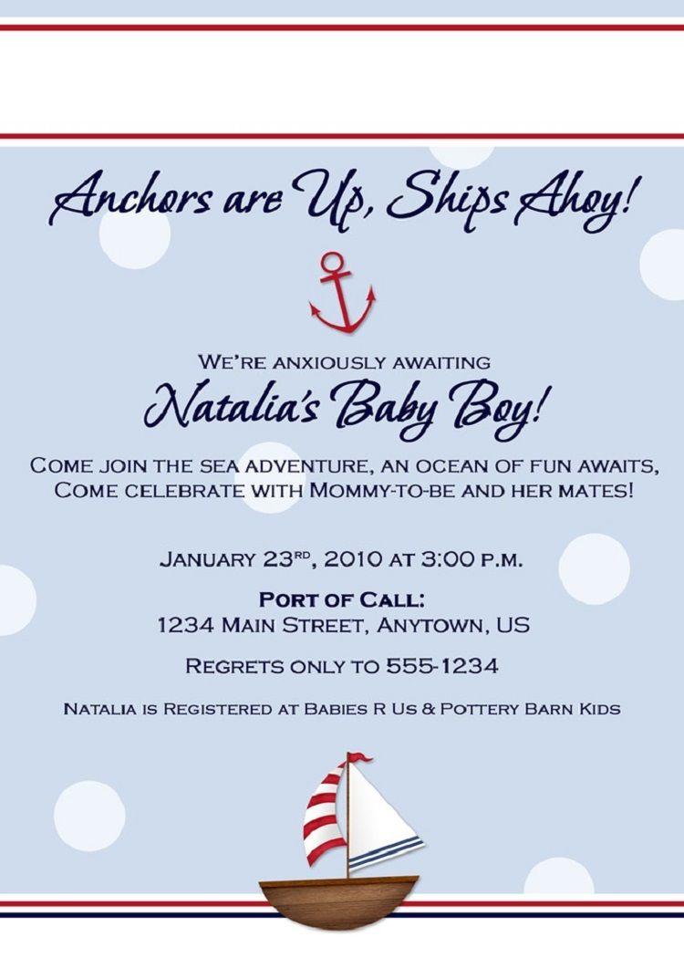 Sailboat Baby Shower Invitation Wording Nautical Baby Shower Invitations Baby Shower Invitations Printable Baby Shower Invitations