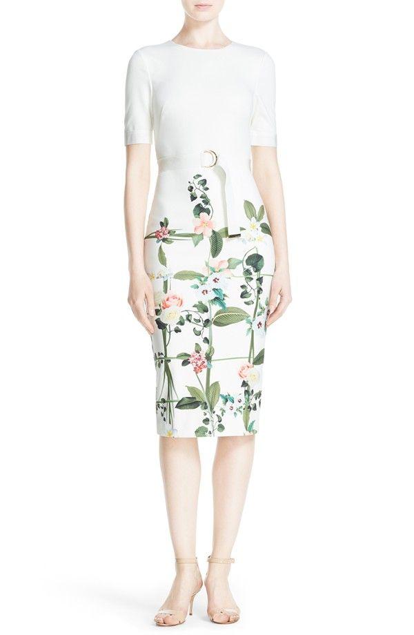 5838280077299 Ted Baker London  Tahlor  Floral Print D-Ring Sheath Dress ...