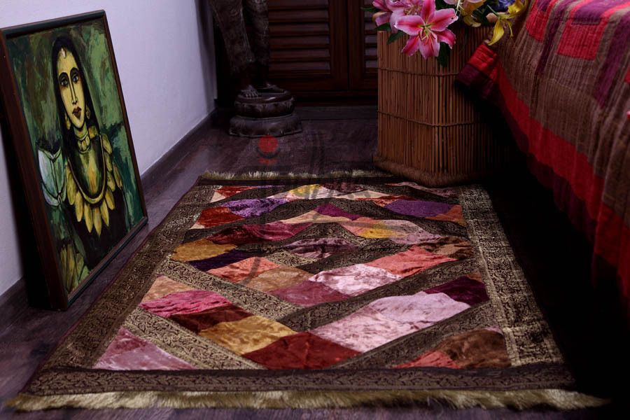 Carpet Rug In Velvet And Brocade In Earth Tones 21fmta006 Rugs On Carpet Rugs Patchwork Rugs