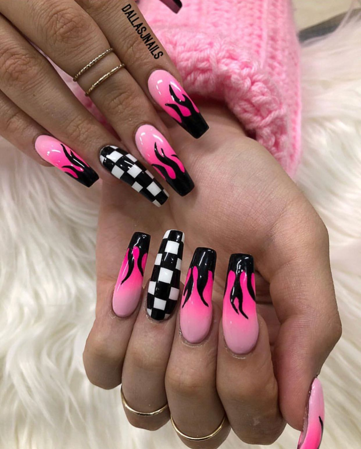Pink Flame Checkered Nails Fire Nails Acrylic Nails