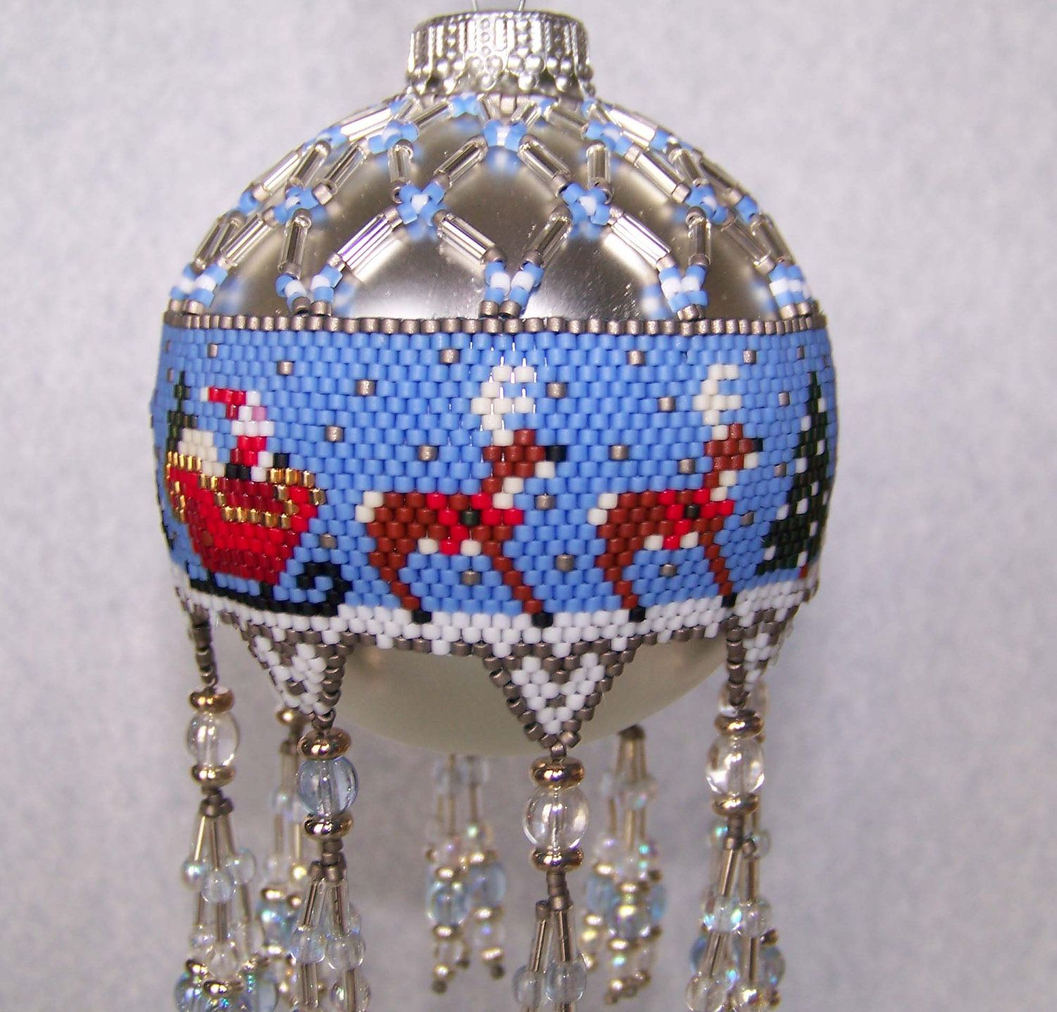 Beaded Ornament Cover Santa S Sleigh Beaded Ornament Covers Beaded Christmas Ornaments Christmas Bead