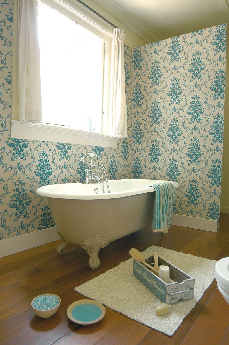 Vinyl behang barok linnen structuur turquoise, geschikt voor ...