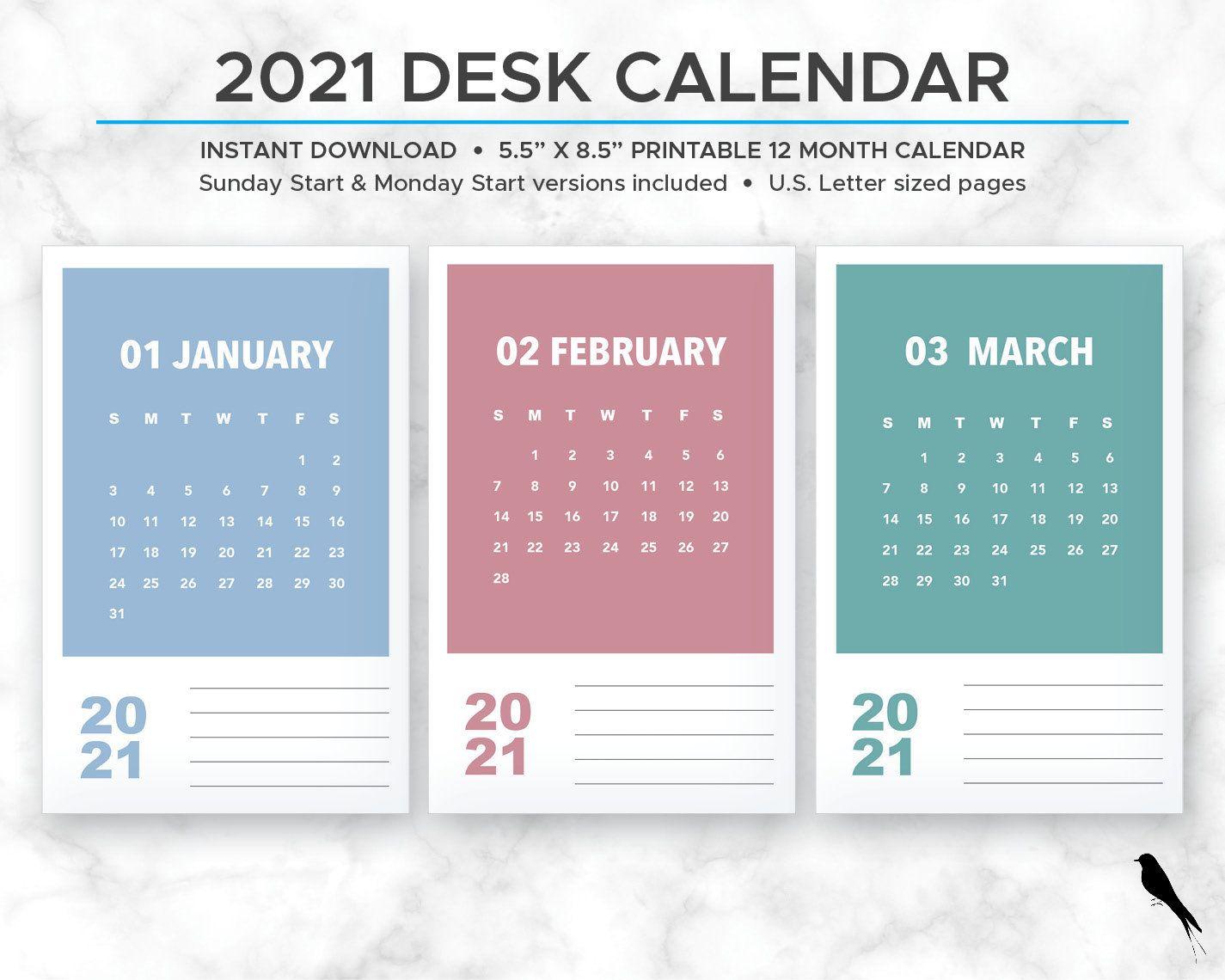 2021 printable monthly calendar modern rainbow color block