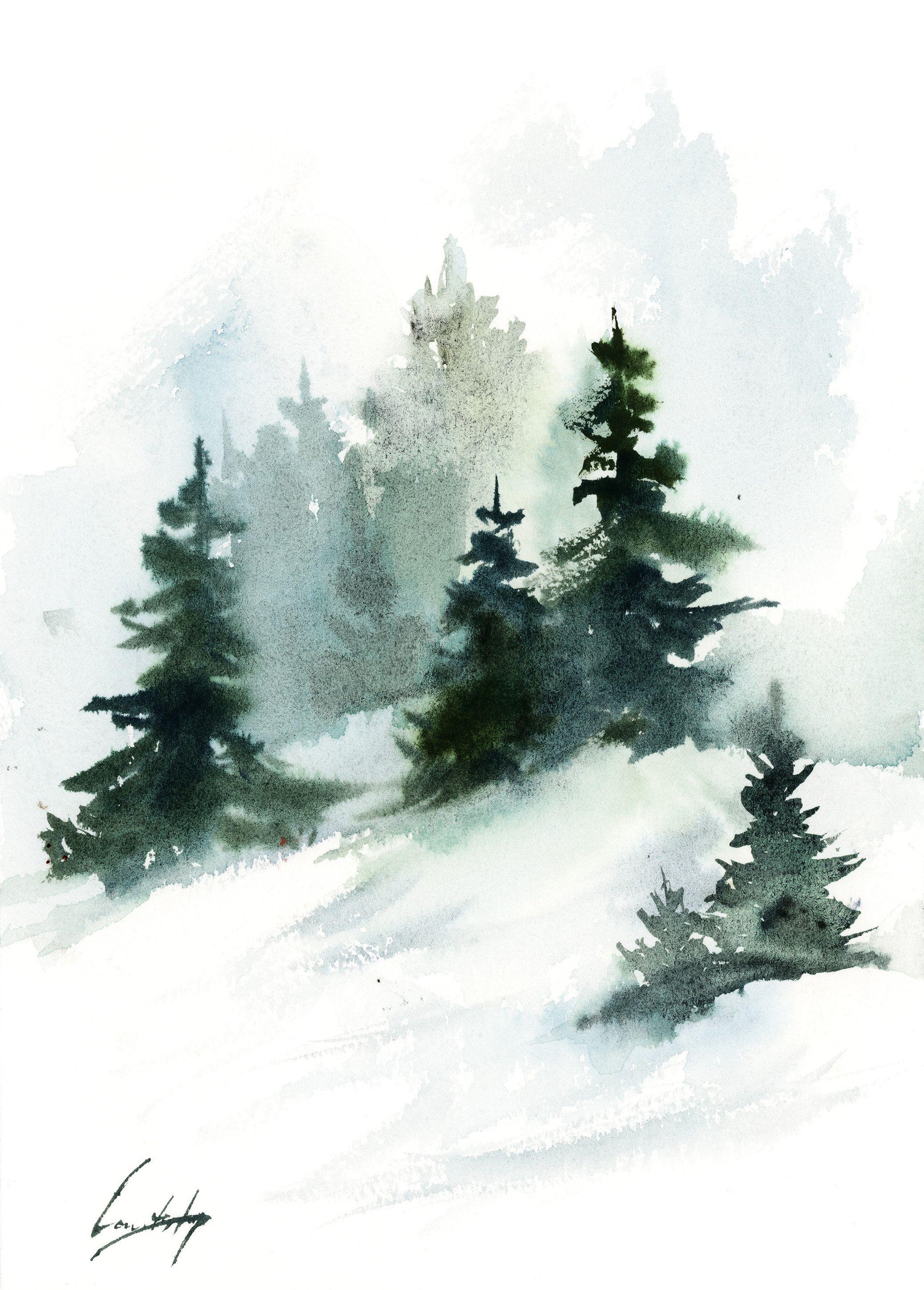 Pine Trees Landscape Painting Winter Landscape Original Watercolor Painting Snowy Nature Painting By Canotstop Pine Tree Painting Nature Paintings Painting Snow