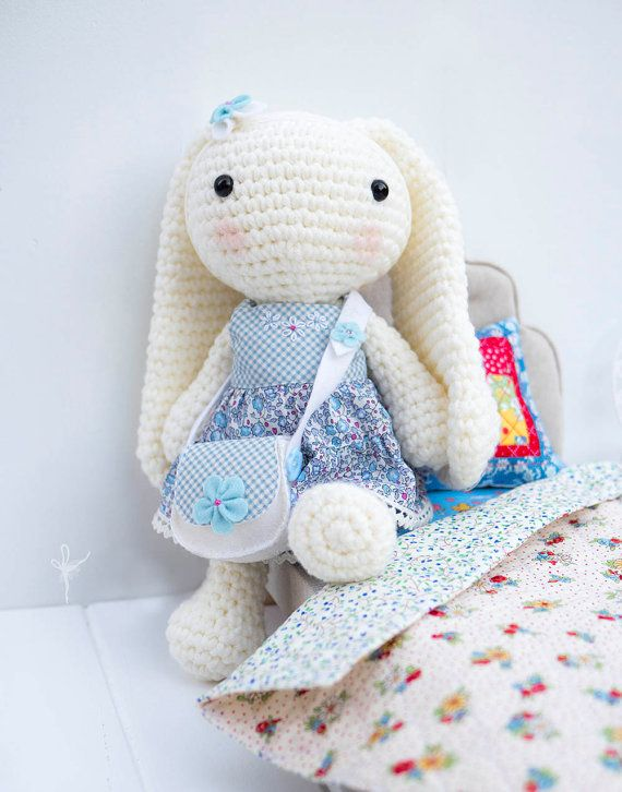 Crochet Bunny Amigurumi Long Eared Rabbit by ArabesqueScissors