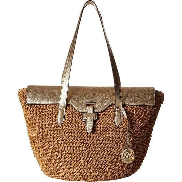 b5c348264c00 ... shop michael michael kors straw naomi large tote pale gold tote  handbags 240 8c14f a0489