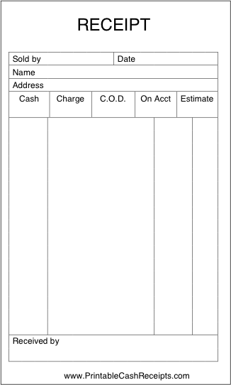 A Basic Sales Receipt That Is Unlined And Has Room To Note Form Of Payment And Other Details Free To D Receipt Template Invoice Template Free Receipt Template
