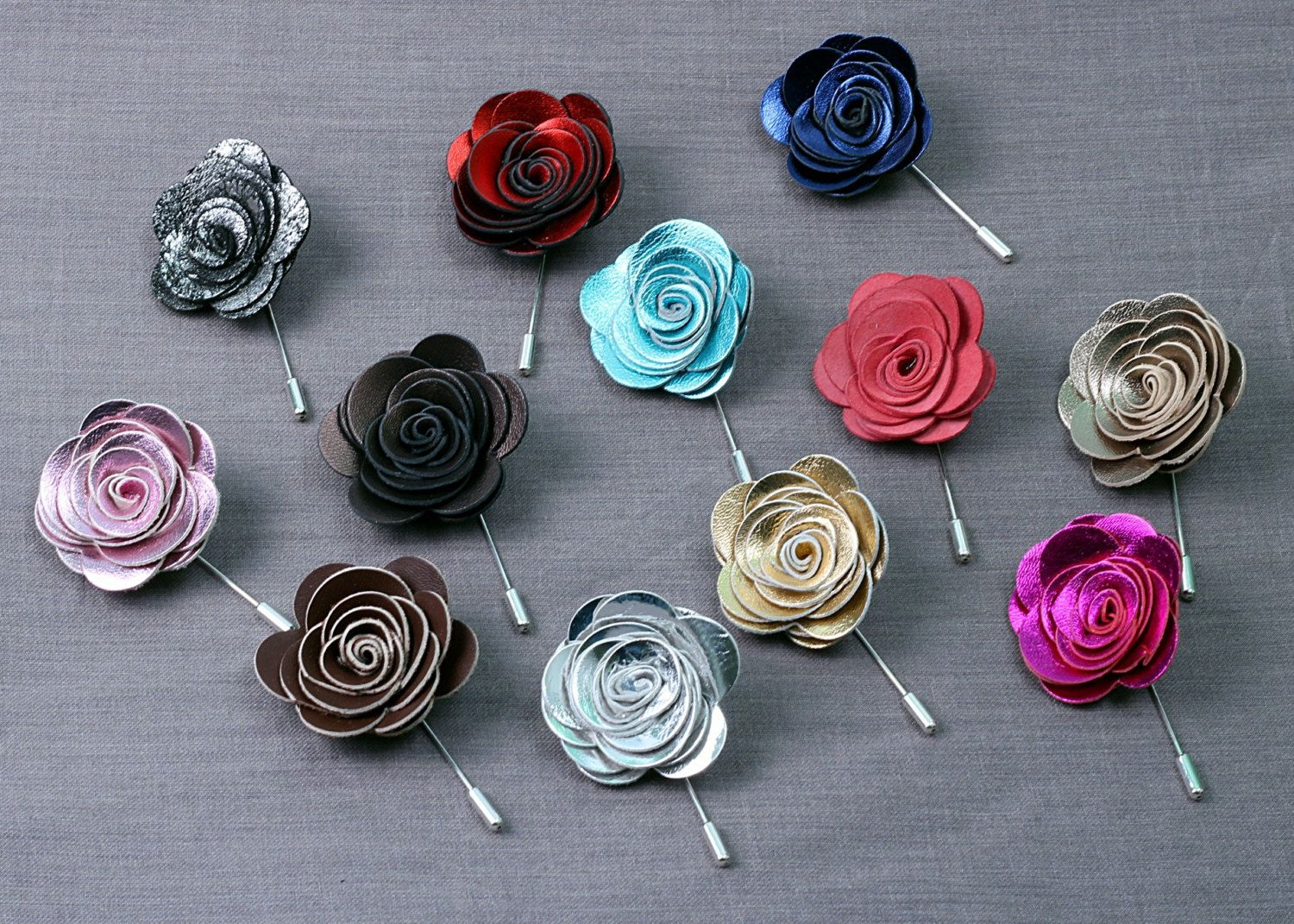 a6552fdaa6fb0 4 for price of 3 leather flower lapel pin, silver Boutonniere, white ...